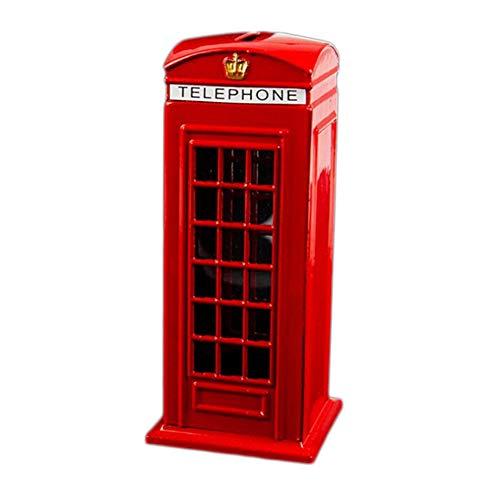 Semoic Metal Rojo Banco De Cabina De Teléfono De Londres De Inglés Británico Banco De Moneda Bote De Ahorro Hucha Caja Cabina De Teléfono Rojo 140X60X60Mm