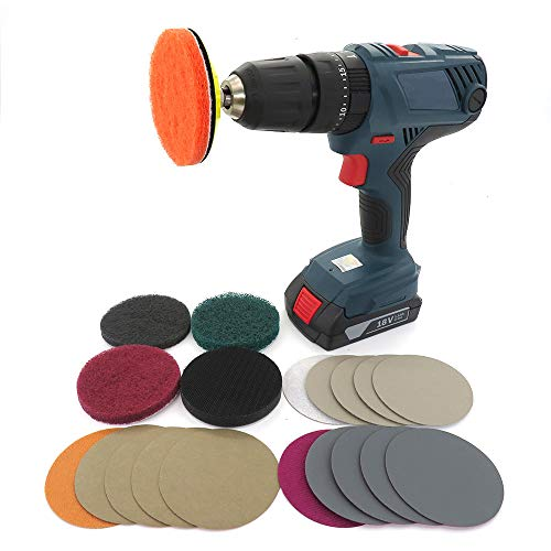 Headlight Restoration kit for Electric Drill Based Car Lights DIY Polishing kit with 3 Inch Sanding Backing Pad, Mop, Drill Adapter, Sponge Buffer Pad, 21PCS