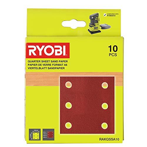 Ryobi RAKQSSA10 Juego de Hojas de Lija de 1/4 (10 Piezas)