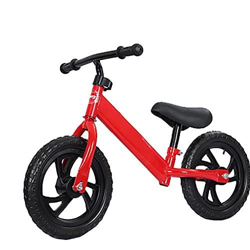 CKCL Equilibrio En Bicicleta, Niños Pequeños a Pie De Bicicleta con Pedales No Altura del Asiento Ajustable Y El Manillar Bicicletas Equilibrio Formación Ligera En 2 3 4 5 De Edad,Rojo