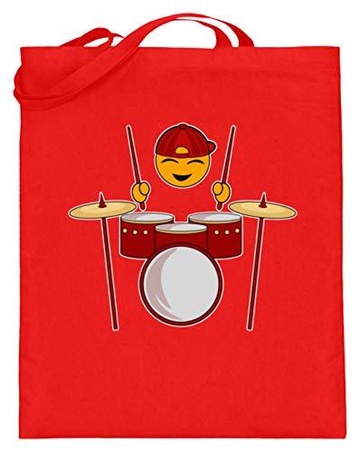 Schlagzeuger - Schlagzeug, Schlagzeugspieler, Musik, Rock, Rockmusik, Musikspieler - Jutebeutel (mit langen Henkeln) -38cm-42cm-Rubinrot