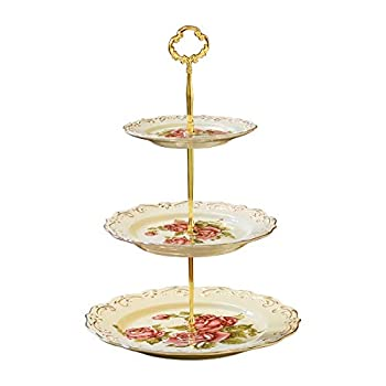 YOLIFE Red Rose Pattern 3 Tiered CupCake Stand Emboss Golden Leaves Edge Porcelain 3 Tier Pastry Stand Desert Stand