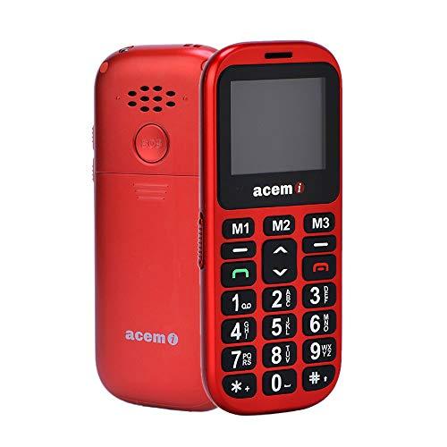 acemi Seniorenhandy Mobiltelefon mit großen Tasten und ohne Vertrag, Mit Notruf-Knopf und 800 mAh Akku, Rentner Handy Großtastenhandy mit Ladestation und 1,77 Zoll Farbdisplay 2G GSM Handy