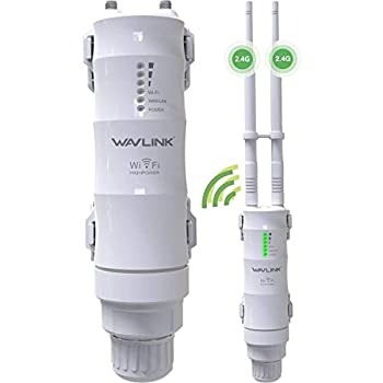 WAVLINK 2.4GHz 300Mbps Outdoor Long Range WiFi Extender 3 in 1 Weatherproof Wireless PoE Access Point  AP / Exterior Router/Repeater Internet Amplifier Network Signal Booster in 2 Antennas