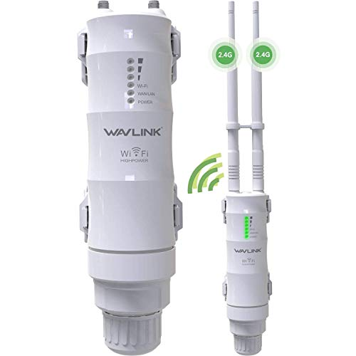 WAVLINK 2.4GHz 300Mbps Outdoor Long Range WiFi Extender, 3 in 1 Weatherproof Wireless PoE Access Point (AP)/ Exterior Router/Repeater Internet Amplifier Network Signal Booster in 2 Antennas