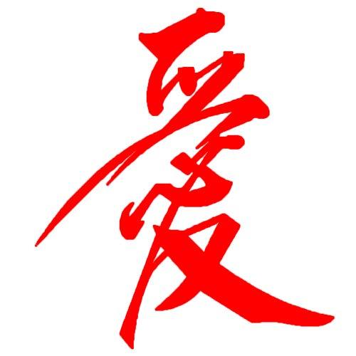 Oce180anYLV Chinesische Schriftzeichen Liebe Auto-Styling Körper Fenster Reflektierende Aufkleber Dekor Abziehbilder Red