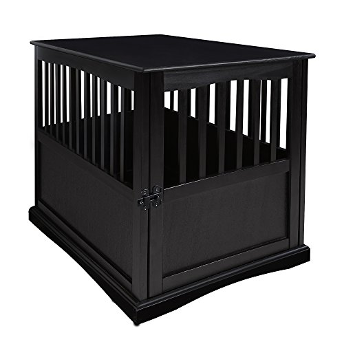 Casual Home Wooden Large Pet Crate, End Table, Black