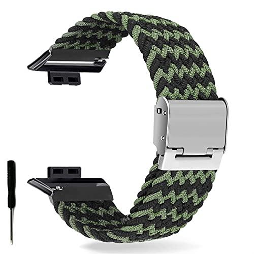 Correa de Reloj para Watch FIT Correa elástica Trenzada Ajustable Correa de muñeca Correa de liberación rápida (Band Color : Black Green Waves, Band Width : Hua Fit)