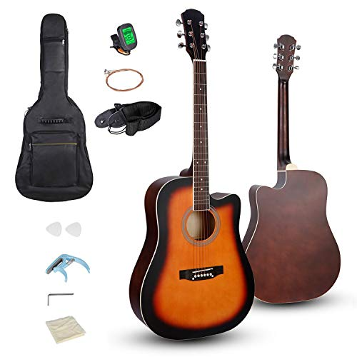 """Smartxchoices 6 String 41"""" Full Size Acoustic Guitar Cutaway Wooden Guitar Set w/Gig Bag Strap, Tuner, Capo,Extra Strings Set Pick for Adult Kids Beginner Starter Students Right-handed (Sunburst)"""
