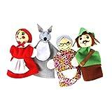 Dedo 4pcs / set Caperucita Roja de Animales de Navidad Títeres de juguetes educativos juguetes Cuentacuentos Finge muñeca de la historieta