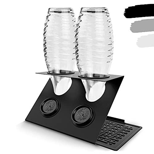 LICHTENWERK® Premium 2er Flaschenhalter für Wassersprudler aus Edelstahl [STEELDRY - Das Original] - Abtropfhalter geeignet für alle Wassersprudler inkl. Abtropfmatte