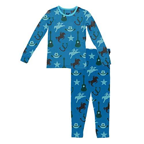KicKee Pants Print Long Sleeve Pajama Set (Custom Amazon Cowboy - 2T)
