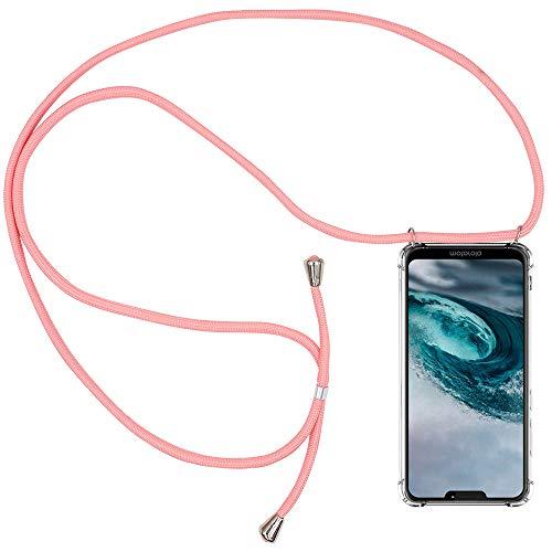 CLM-Tech Handykette kompatibel mit Motorola Moto G7 Power - Hülle mit Kordel zum Umhängen - Silikon Schutzhülle transparent mit Band Schnur, rosa
