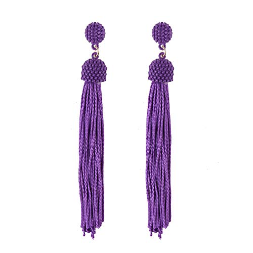 2018 Stylish And Beautiful Long Tassel Earrings Earrings Female Jewelry Accessories Pendant,Purple