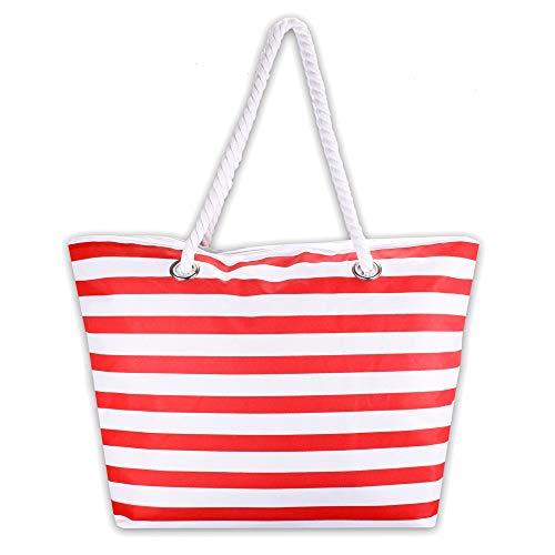 XL Strandtasche, Badetasche Modell Bagenôg® abwaschbar mit langem Schulterriemen im Maritim Look in rot od. blau - weiß gestreift (rot-weiß)