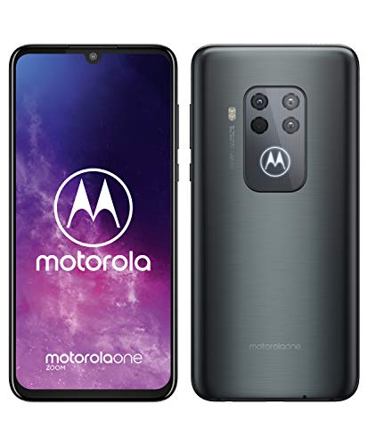 motorola one zoom mit Alexa Hands-Free Smartphone (6,4-Zoll-FHD+-Bildschirm, Vierfach-Kamerasystem; 128 GB/4 GB, Android 9, Dual-SIM-Smartphone) Grau-Metallic + Headset + Schutzcover