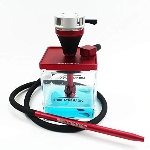 Baby rabbit-SS Wasserpfeife Komplettierung, Acryl Arab Shisha Mit Koffer, 1 Silikonschlauch, Mit Carbon-Partition,Rot