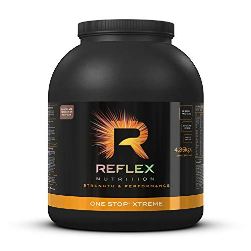 Reflex Nutrition One Stop Xtreme Serious Mass Protein Powder 55g Protein 10.3g BCAA'S, 73g Low GI Carbs 5,000mg Creatine & Added Vitamins (Chocolate Perfection, 4.35kg)