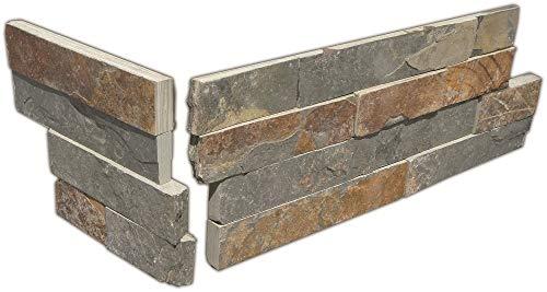 Brickstones, Wandverblender, Mauerverblender Naturstein Ecke passend zu 15x60 cm Schiefer multicolor, 1 Karton = 6 Ecken