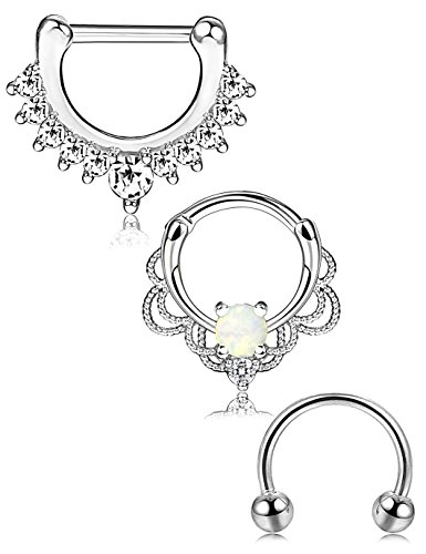 ORAZIO 3PCS 16G Stainless Steel Nose Ring Septum Hoop Opal Body Piercing Clicker Ring (E:3Pcs, Silver Tone)