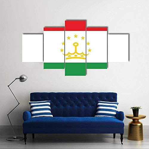 QQQAA Flagge von Tadschikistan 5 teilig kunstdrucke modern Wandbilder XXL Wanddekoration Design wandbild Wohnzimmer Wohnung deko Abstrakt Gemälde Bilder