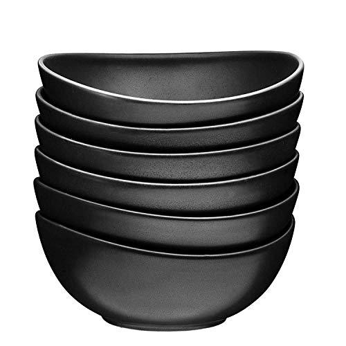 18 Oz Ceramic Dessert Bowls Set of 6 Cereal Pasta Bowls Set Matte Black - Dinnerware - CW05