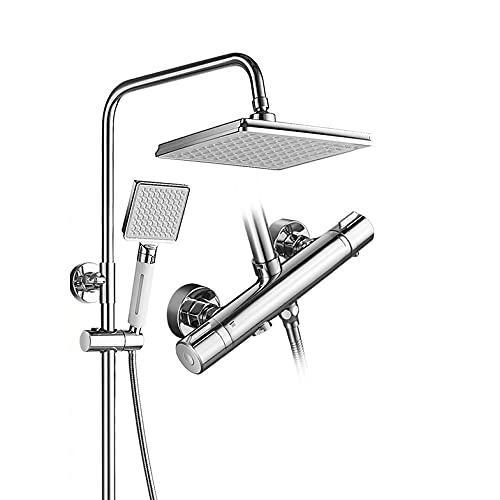 Sistema de ducha termostático del cuerpo de cobre refinado, montaje en pared con ocasión dual funcional con ducha con ducha de lluvia ajustable de ángulo ducha de mano, anti-escaldado, kit de ducha co