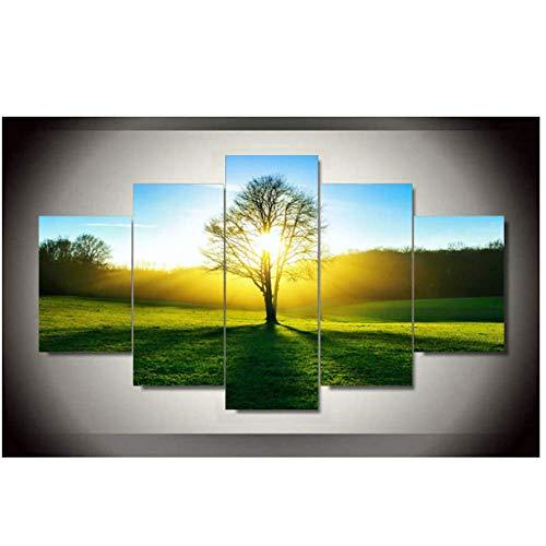 RUIQIN 5 peças de arte de parede com luz do sol da manhã, imagem HD decoração de casa, impressão em tela, pinturas de paisagem de grama verde 40 x 60 40 x 80 40 x 100 cm, sem moldura