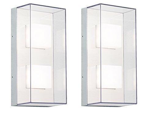 KONSTSMIDE 2-delige set rechte wandlampen SANREMO, onbreekbaar scherm, 8W HP-LED, IP54; 7936-310