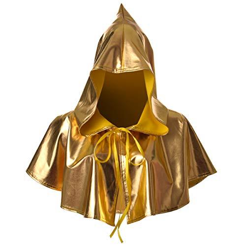 BLESSUME Collar medieval con capucha pagan de Wicca para cosplay (amarillo 2)