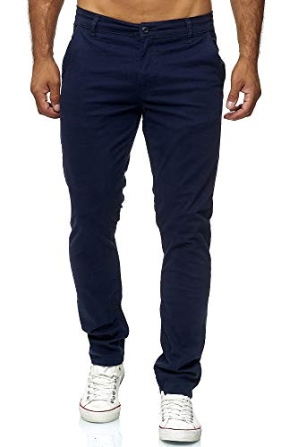 Elara Herren Chino Hose Regular Slim Fit Stretch Chunkyrayan MEL009-Navyblau-31/34