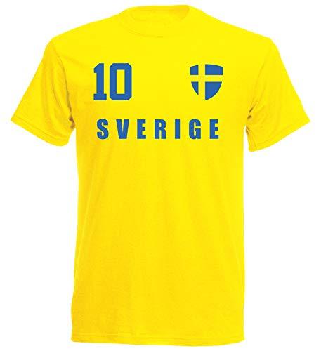 Schweden WM 2018 T-Shirt Fußball Trikot - Gelb ALL-10 - S M L XL XXL (S)