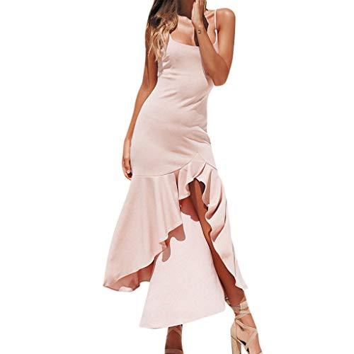 iHENGH Damen Frühling Sommer Rock Bequem Lässig Mode Kleider Frauen Röcke Sexy Rüschen Schulterfrei Ärmelloses Kleid Princess Dress(Rosa, S)