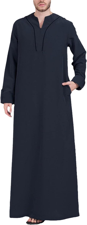 Mens Muslim Clothes Jubba Thobe Long Sleeve V Neck Casual Saudi Arabia Men Robes Abaya Dubai Arabic Islamic Kaftan