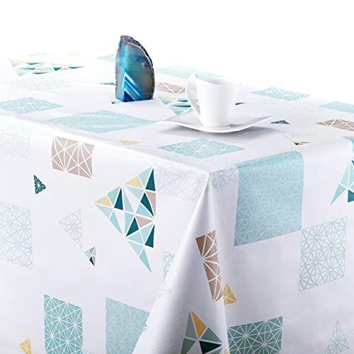 Nappe scandinave Facile à Nettoyer aux Motif géométrique avec Blanc Turquoise Jaune Triangle Diamant, Texturé en Relief - Rectangulaire 250 x 140 cm pour Toile cirée Lourde PVC Nappe en Vinyle