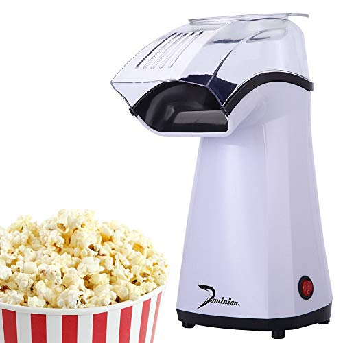 Dominion Fast Hot Air Popcorn Maker | No Oil | Ideal for Watching Movies and Holding Parties in Home | Healthy | ETL Approved (White)