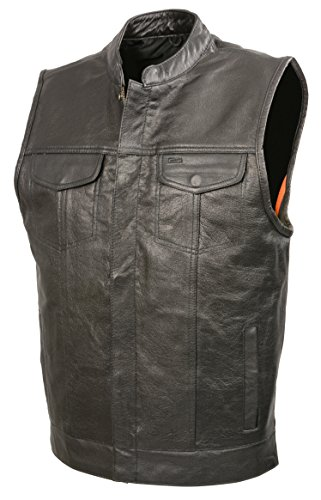 Mens SOA Leather Club Style Vest W/PATCH ACCESS FEATURE, Concealed Gun Pockets, Premium Buffalo Leather Biker Vest (Black, 6X)