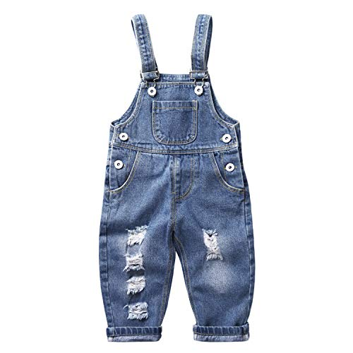 De feuilles Baby Latzhose Jeans Jungen Mädchen Denim Latzhose Kinder Strech Destroyed Jeans