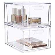 """STORi Audrey Stackable Cosmetic Organizer Drawers 4-1/2"""" Tall   set of 2 Clear"""