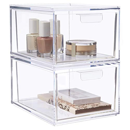 STORi Audrey Stackable Cosmetic Organizer Drawers 4-1/2' Tall | Set of 2 Clear