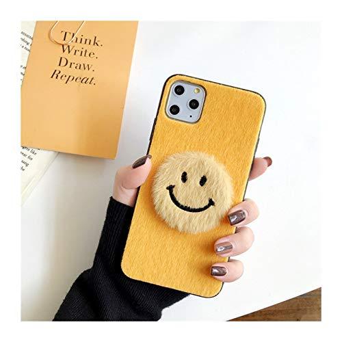 para iPhone 6 7 8 Plus 11 PROMAX Mobile TELÉFONO COMPAJO Femenino XSMAXR Simple SONRENSO Cara Mink PELUMINACIÓN Personalidad Creativa (Color : Yellow, Material : For iphone7plus)