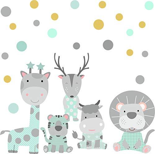 Wandtattoo Kinderzimmer Mädchen Jungen - greenluup Tapetensticker Wandsticker Tiere Dschungeltiere Safari in Mint Grau mit 35 Punkten Wandbild Mädchen Jungen Babyzimmer