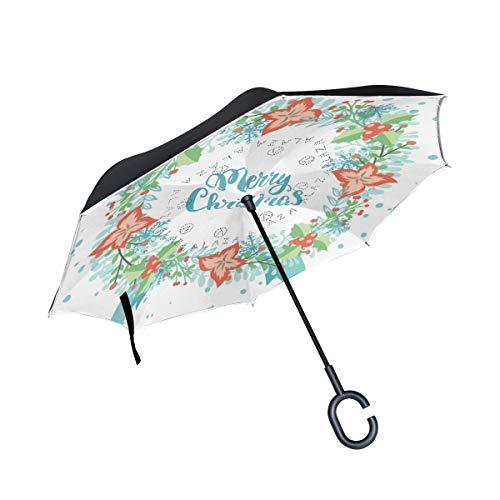 con Mango en Forma de C Chiefs Patio Umbrella Paraguas al Aire Libre para el Coche Reverse Umbrella Windproof Merry Christmas Wreath Flower