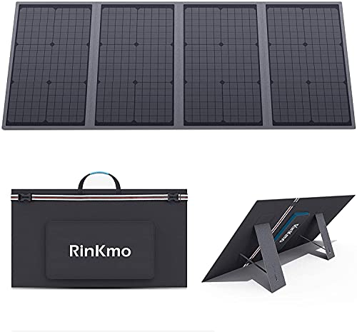 RINKMO 120W Portable Solar Panel Foldable Solar Charger Chainable with USB-C(Support PD), Dual USB 3.0 18V DC Output, IP65 Waterproof, Portable Generator Power Station for Outdoor Camping RV
