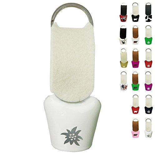 ebos Kuhglocke ✓ mit Filzriemen ✓ Größe 3 ✓ Schlüsselanhänger | fob Key | Schelle | (Weiß mit Edelweiß)
