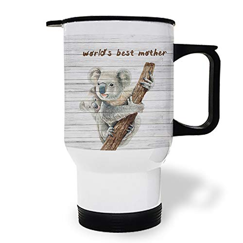 15 OZ Stainless Steel Car Cup with Handle, Animal World's Best Mother on Wooden Plank Travel Coffee Mug Cup Heated Thermos for Heating Water, Coffee, Tea Milk, Gift