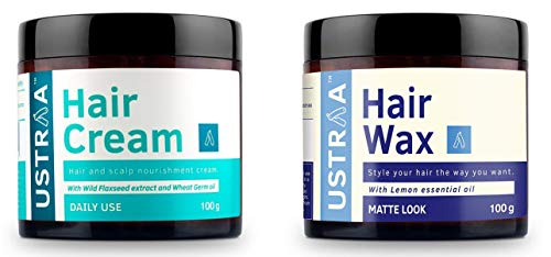 Ustraa by Happily Unmarried Hair Wax - 100 g … And Ustraa Daily Use Hair Cream, 100g