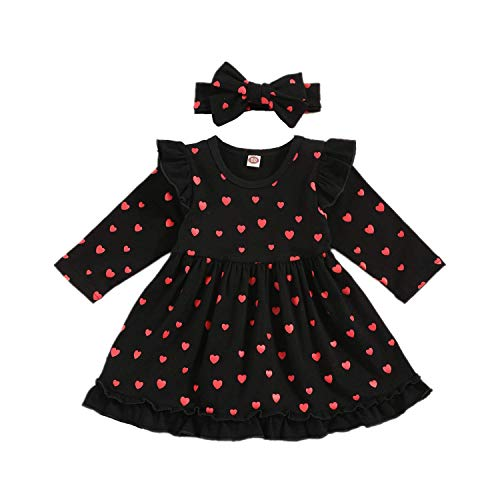 bilison Baby Girl Valentine's Day Clothes Heart Print Infant Toddler Baby Girl Valentine's Day Dress with Headband Valentine's Day Outfits