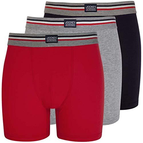 JOCKEY 3er Pack XXXL Farbmix 982 grau rot marine enger etwas länger geschnitten BOXER SHORTS
