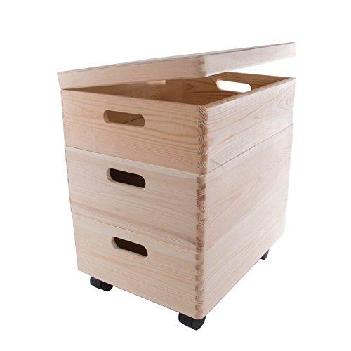 Set de Tres tamaño Mediano apilables Cajas con Ruedas en el Pecho de Almacenamiento de Madera/Juguetes/baúl